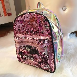 Handbags - Pink Silver Sequin Backpack w Holo Side and Back